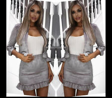 Women Jacket 2 Piece Co-ord Suede Twinset Frill Ruffle Blazer Pencil Skirt Party Grey Set-crop Top Bardot Boot Tube Split Cut out UK 4