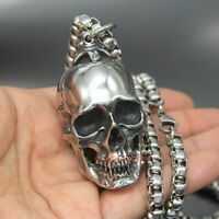 Huge Vintage Stainless Steel Skull Necklace Pendant Gothic Biker Rock Men Charm