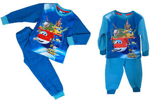 Super Wings Pyjama Ensemble Long Manches Pyjama , Bleu Polaire Souple 