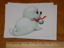 "Unused Christmas Greeting Card Ruth Morehead ""Baby Seal Wearing Jingle Bell"""