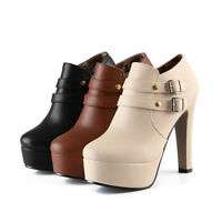 Womens Ladies Zip Buckles Platform Block High Heel Pumps Shoes UK Size 1--8 D355