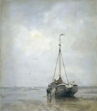 """oil painting handpainted on canvas""""fishing boat on the beach,two horses"""" NO6729"""