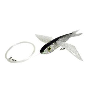 """8"""" Black / Silver Flying Fish Rigged -  Mahi, Tuna, Marlin Lure Yummy Flyer"""