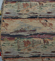 """ulphostery Fabric  vintage, horses and cowboys  design, 54"""" wide, sold by yard"""