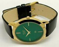 Seiko Quartz Super Slim Men Gold Plated Excellent Green Face Watch
