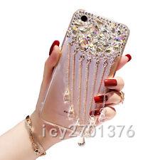 Luxury Bling Diamond Rhinestone tassel pendant Case Soft TPU Back Cover Skin #7