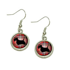 Scottie Dog on Red Plaid Scottish Terrier Dangling Drop Charm Earrings