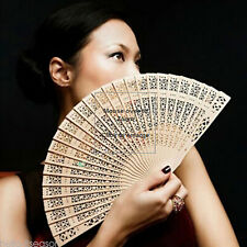 1XRetro Wedding Hand Fragrant Party Carved Bamboo Folding Fan Chinese Wooden New