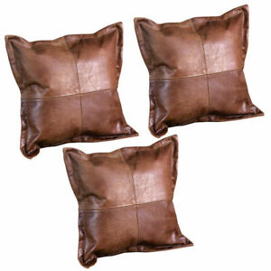 Set Of 3  Genuine Leather Pillow Cover Cushion Cover