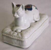 Vintage Byzantium Japan Elizabeth Arden Egyptian Cat on Pillow Trinket Box Chip