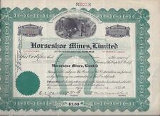 New listing 1913 Horseshoe Mines, Limited inc. Ontario Canada Stock Certificate #1032