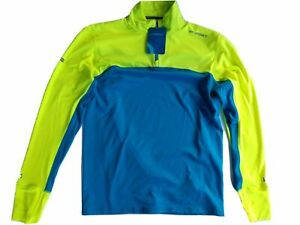 Brooks Dash 1/2 Zip Men's Long Sleeve Pullover SZ SM Ultra Blue and Yellow NWT