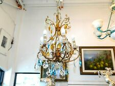 Magnificent Estate Rare 6-Light Multi-Color Crystal & Gilt Metal Chandelier