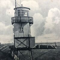 VTG RPPC Postcard Leuchtturm Lighthouse Steindeich Souvenir Real Picture Antique