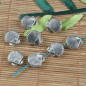 8pcs tibetan  silver colortwo sides shell design spacer beads G1175