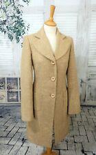 ALPACA ELLA FASHION Beige herringbone tweed coat size XS UK 6