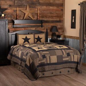 BLACK CHECK STAR QUILT Bedding SET CHOOSE SIZE & Accs. VHC Plaid King Twin