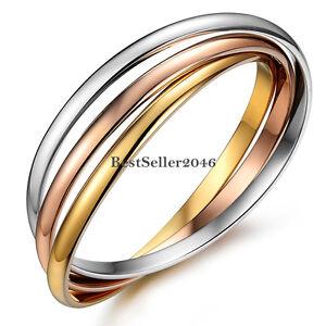 Hypoallergenic Tri-Colour Stainless Steel Interlocking Girls Bangle Bracelets
