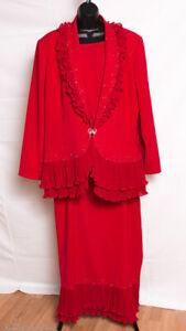 Aussie Austine Evening Church Suit Jacket Skirt 3 piece Set Red Modest NWOT 20