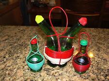 Vintage Ucagco Cruet Oil & Vinegar Green Glass Italian Chianti Wine Bottle
