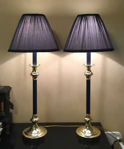 """Pair Of 29"""" Tall Buffet Lamps, Brass Colored Trim w/ Blue Bodies & Shades - Nice"""