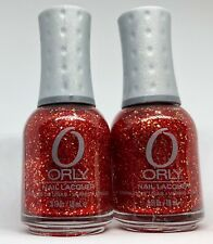 Orly Nail Polish DEVIL MAY CARE 40774 Red & Gold Glitter Lacquer