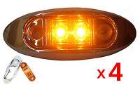 4X 12V/24V Amber 4 LED Sleek Side Marker Clearance Light Indicator Trailer Truck