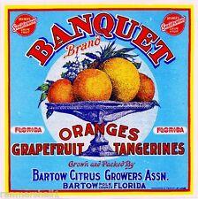 Bartow Polk County Florida Banquet Orange Citrus Fruit Crate Label Art Print