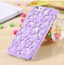 For iPhone 6 / 6S - Hard Hollow Protector Case Cover Lavender Flower Petal Pearl