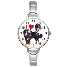 I Heart Hovawart Dog Stainless Steel Italian Charm Link Unisex Wrist Watch Bm379