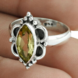 925 Sterling Fine Silver Jewelry Marquise Shape Citrine Gemstone Ring Size 6 A31