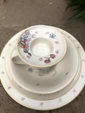 Mikasa Teddy Bear Collectible Dinner Plate Dessert Bowl Cup Egg 5 Pc Lot