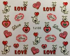 Nail Art 3D Decal Stickers Valentine 00006000 9;s Day Puppy Love Hearts Tj100