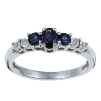 10k White Gold 3 Three Stone Genuine Blue Sapphire and Diamond Ring