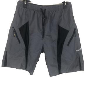 Men's Santic Cycling Nylon Shorts Size Large Athletic Bike Padded Gray T153
