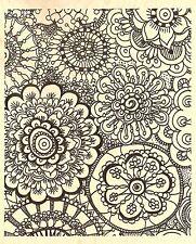 Coloring Mandalas Flower Background Wood Mounted Rubber Stamp JUDIKINS 3748J New