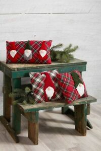 Mud Pie H0 Christmas Gnome For The Holidays Small Tartan Pillow - Choose Design