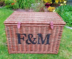 "Large 23"" Wide Fortnum And Mason F&M Picnic Hamper Basket Storage Coffee Table"