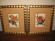 Lovely Vintage Pair of Gold Carved Frames, 3-D Pink Rose Floral Collage Wall Art