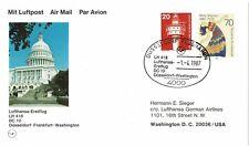 GERMANY DEUTSCHE BUNDESPOST 1987 LUFTHANSA FIRST FLIGHT POSTCARD WESTERLAND