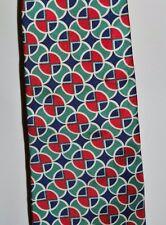 Vintage Burberry London Cravatta Rosso Blu Verde Astratto Circoli Seta Uomo