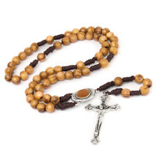 Olive wood Handmade Rosary beads Prayer Knot with Holy Soil from Jerusalem 12.5""
