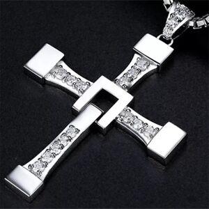 Halskette mit Kreuz Fast and Furious Silber Gold Strass Jesus Christus Kirche
