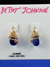 Betsey Johnson Goldtone BETSEY BLUES Pave Snake Wrap Blue CZ Drop Earrings $35
