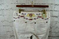 Marlow Vintage White Thunderbird Embroidered Bootcut Flare Jeans Womens 34 waist