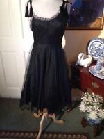 SUE WONG NOCTURNE BLACK EMBELLISH PARTY COCKTAIL DRESS-SIZE6-ASYMMETRICAL TOP!!!