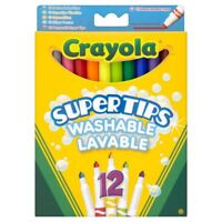 12 x Crayola Kids Colouring Supertips Childrens Markers Felts Pencil Crayons
