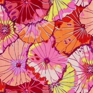 1/2 Yard Free Spirit Kaffe Fassett Lotus Leaf GP29.Red Floral Cotton Fabric
