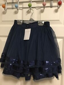 The little white company girls navy layered sequin skirt BNWT age 7-8