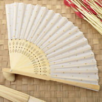 40 GOLD DOT SILK FOLDING FAN FAVOR wedding favors Bridal Shower Favor